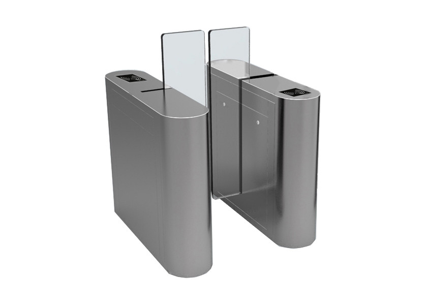 Security Office Building Access Control Turnstiles Full Height Acrylic Wing Panel