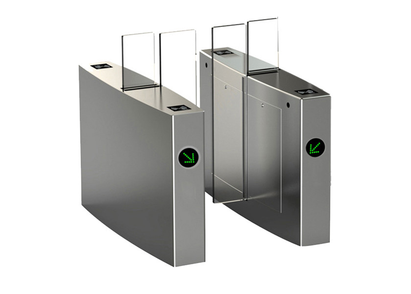Glass Sliding Access Control Turnstiles Infrared Photocell Sensor Body Height
